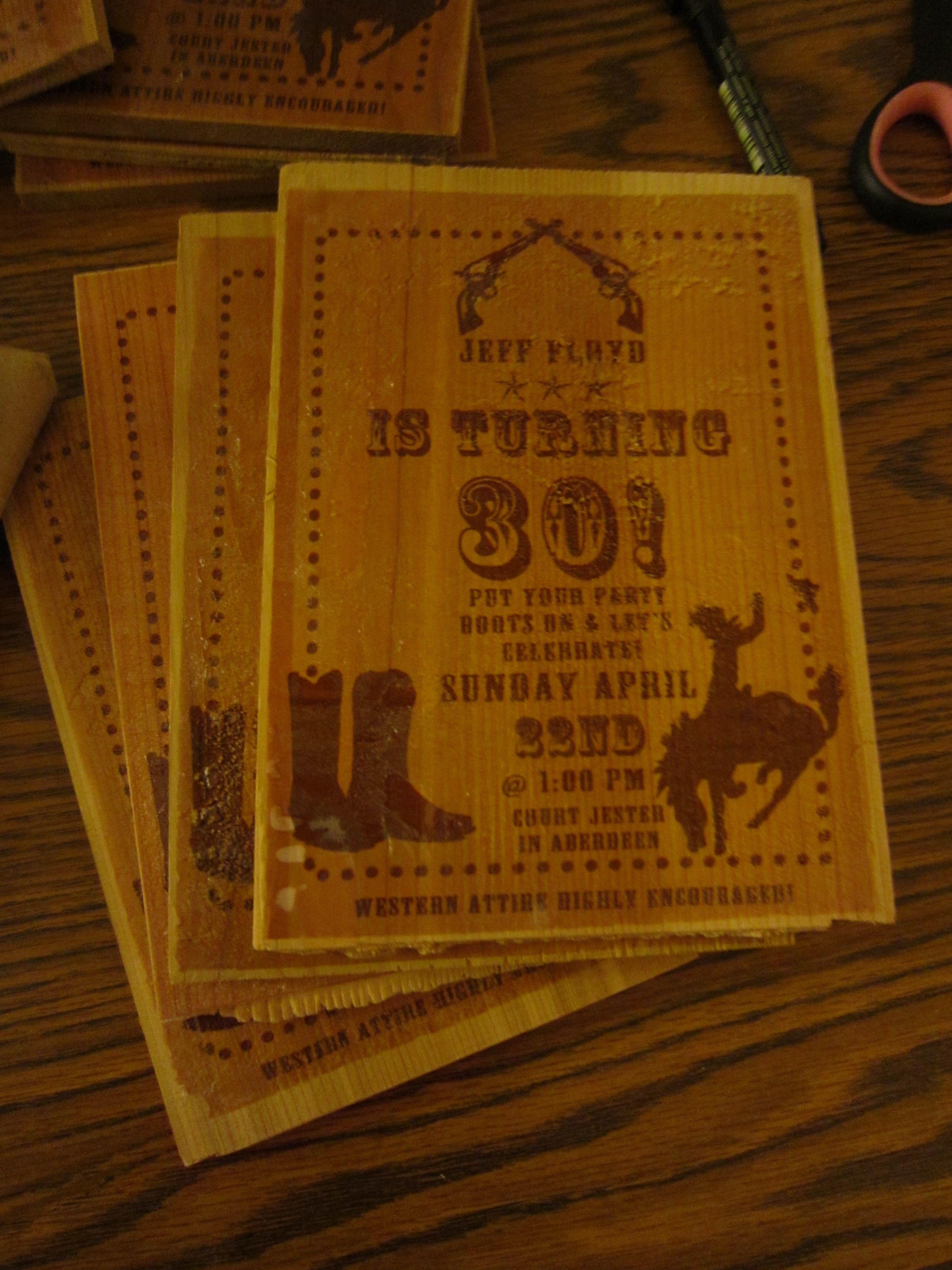 Cowboy/Western 30th Birthday Invites | Cowgirl Dirty 30 | Pinterest ...