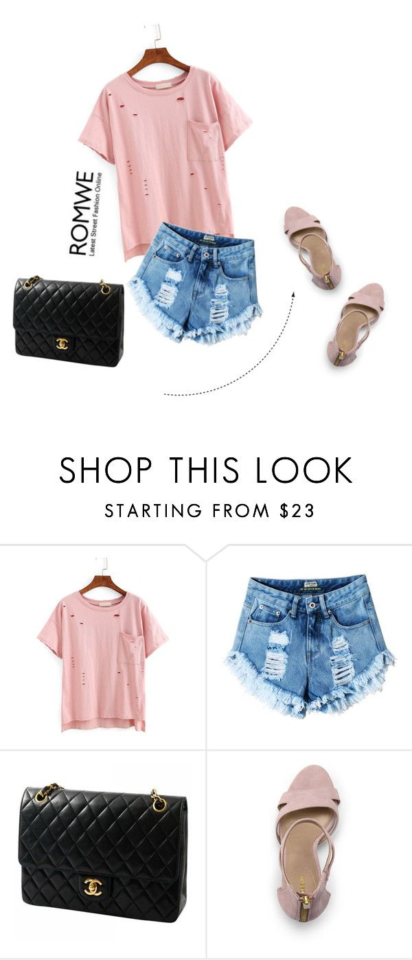 """ROMWE -"" by aria-star ❤ liked on Polyvore featuring Chanel, Lands' End, StreetStyle, romwe and fashionset"