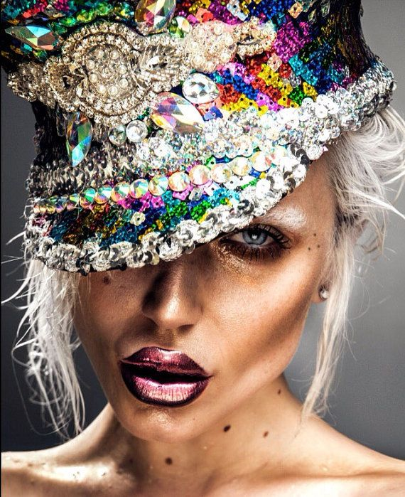 b960dc2afcd Multicoloured sequin and iridescent ab rhinestone embellished disco doof military  cap hat. Burning Man