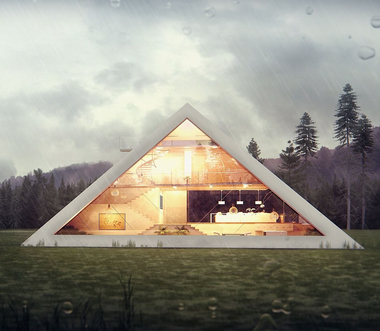 Pyramid House by Juan Carlos Ramos Juan Carlos Ramos's last architectural visualization project, this house was designed for an architectural competition. ARCHITECT / Digital Artist: Juan Carlos Ramos, Michoacan, MexicoDESCRIPTION: residentialSTATUS: Design PhaseDATE: 2013 DESIGN: Juan Carlos RamosDRAWINGS / IMAGES: Juan Carlos Ramos.