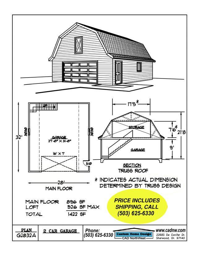 G2832a Garage Plan Details Garage Plans Garage Plan Garage Plans With Loft