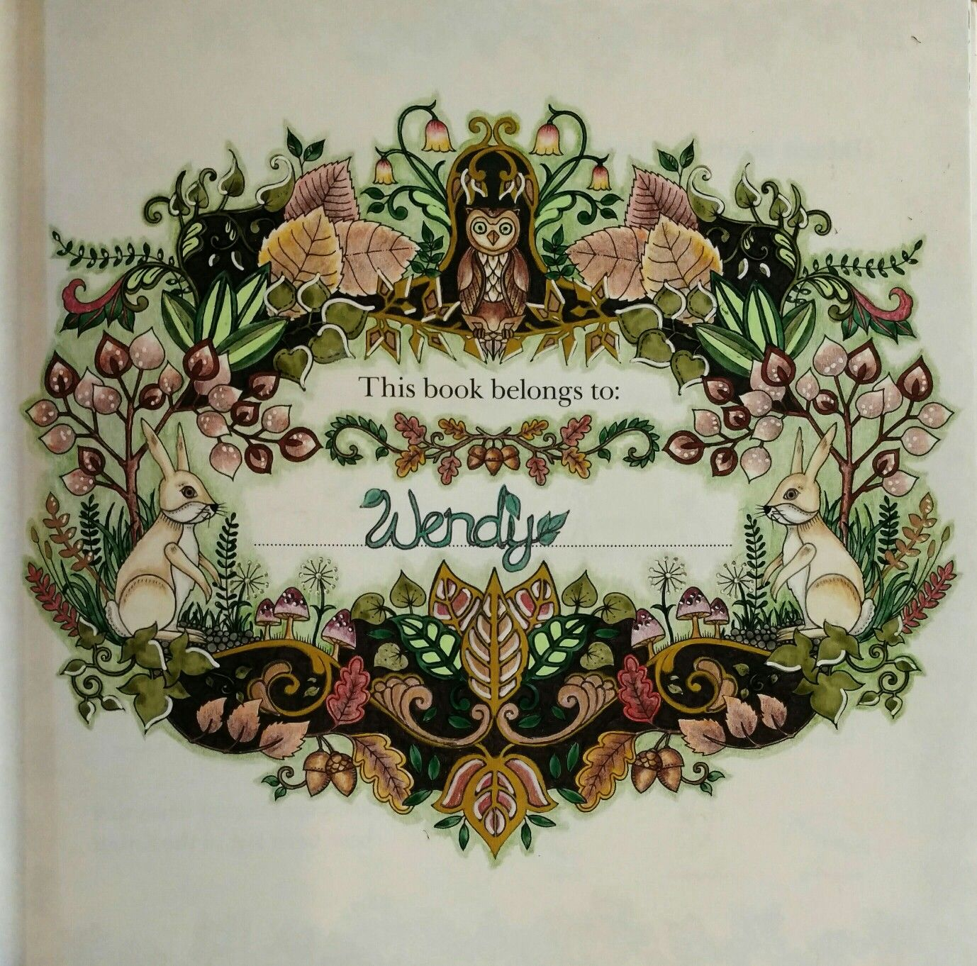 Enchanted Forest Johanna Basford Name Page By Wendy Coloring BooksAdult