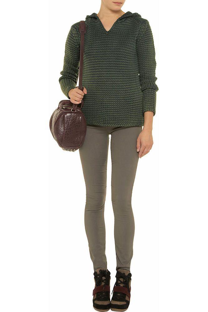 T By Alexander Wang Green Hooded Acid-wash Wool Sweatshirt Jumper Size M