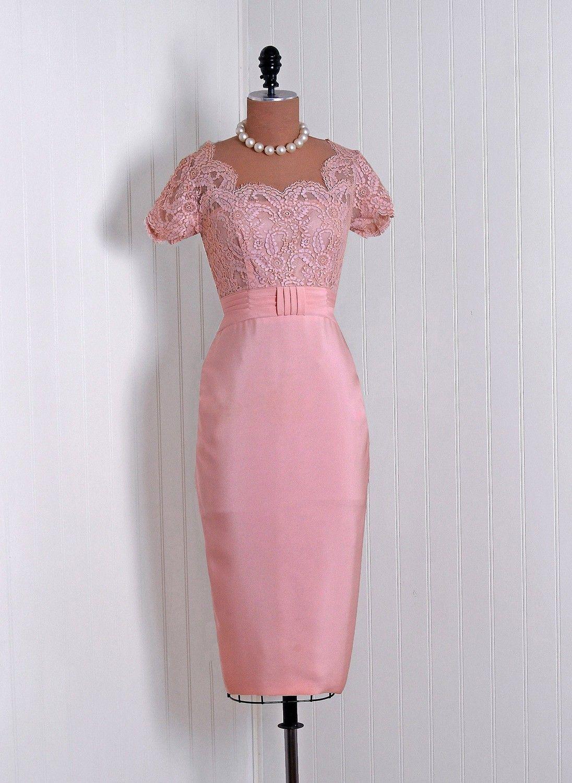 1950\'s Vintage Emma Domb Designer-Couture Elegant Champagne-Pink ...