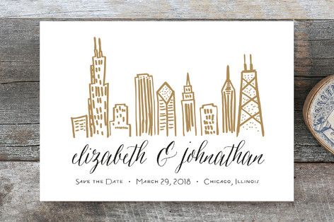 chicago skyline customizable save the date postcards in brown by