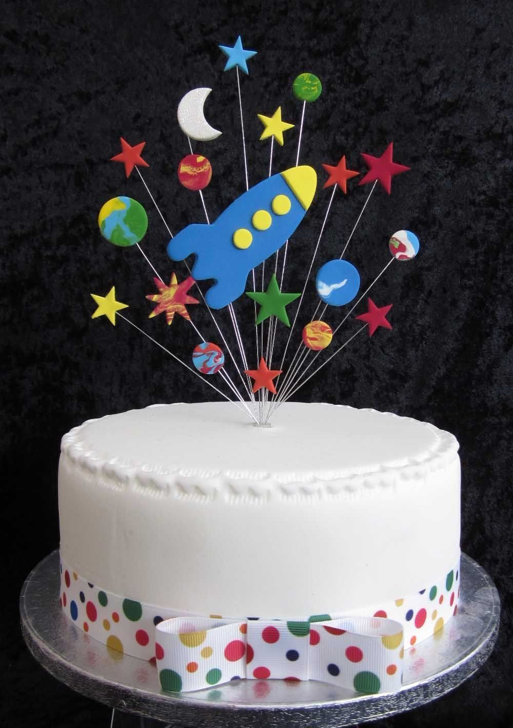 Rocket Birthday Cake Topper With Stars Planets Moon Suitable for