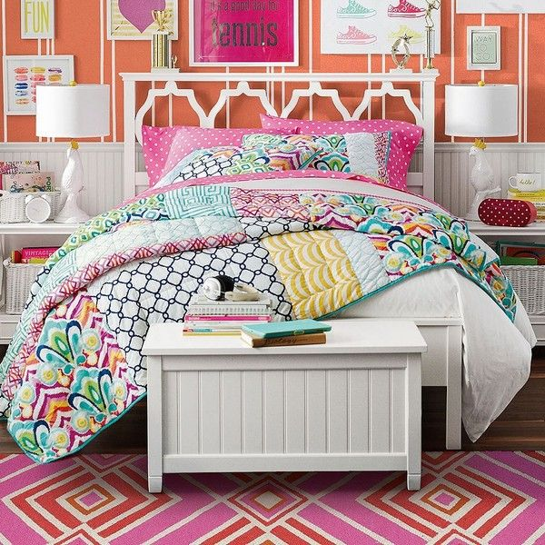 Pb Palm Springs Patchwork Quilt Multi Twin At Pottery Barn 159 Liked On Polyvore Featuring Home Bed Bath Bedding Quilts