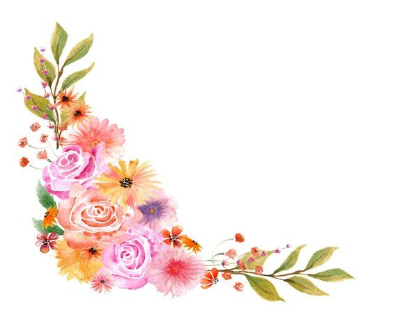 Watercolor flowers corner. Autumn floral bouquet clipart
