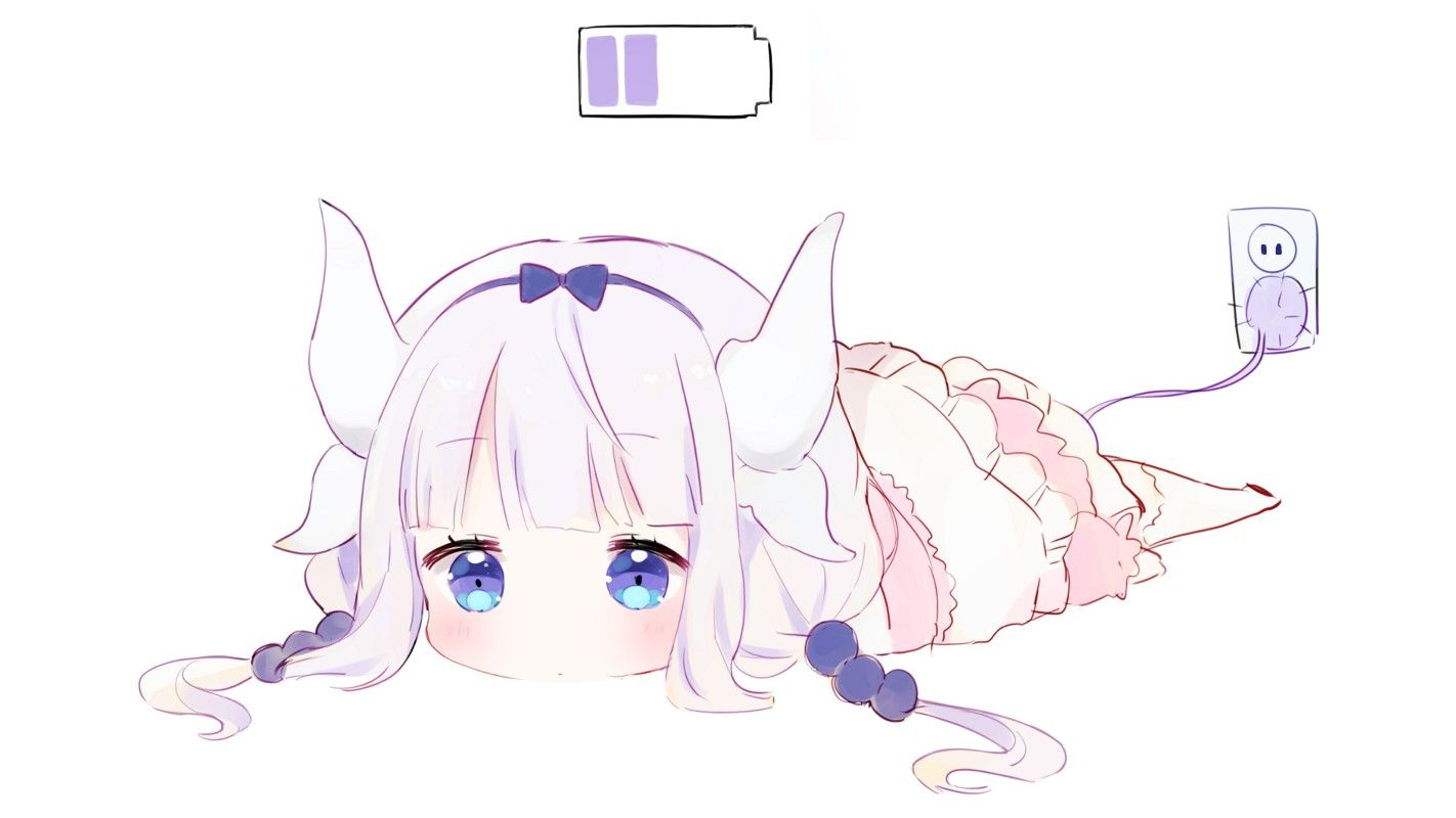 Foyer Wallpaper Anime : Kanna kamui recharging cute battery level plug