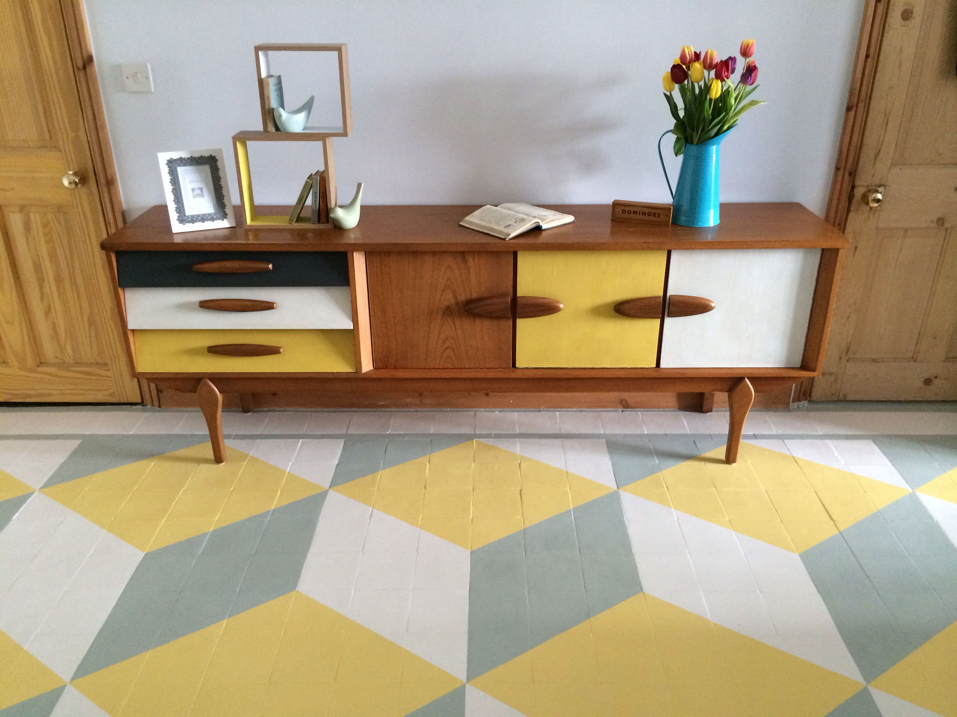 Upcycled 1960s retro teak painted sideboard on painted geometric floor Farrow and Ball floor