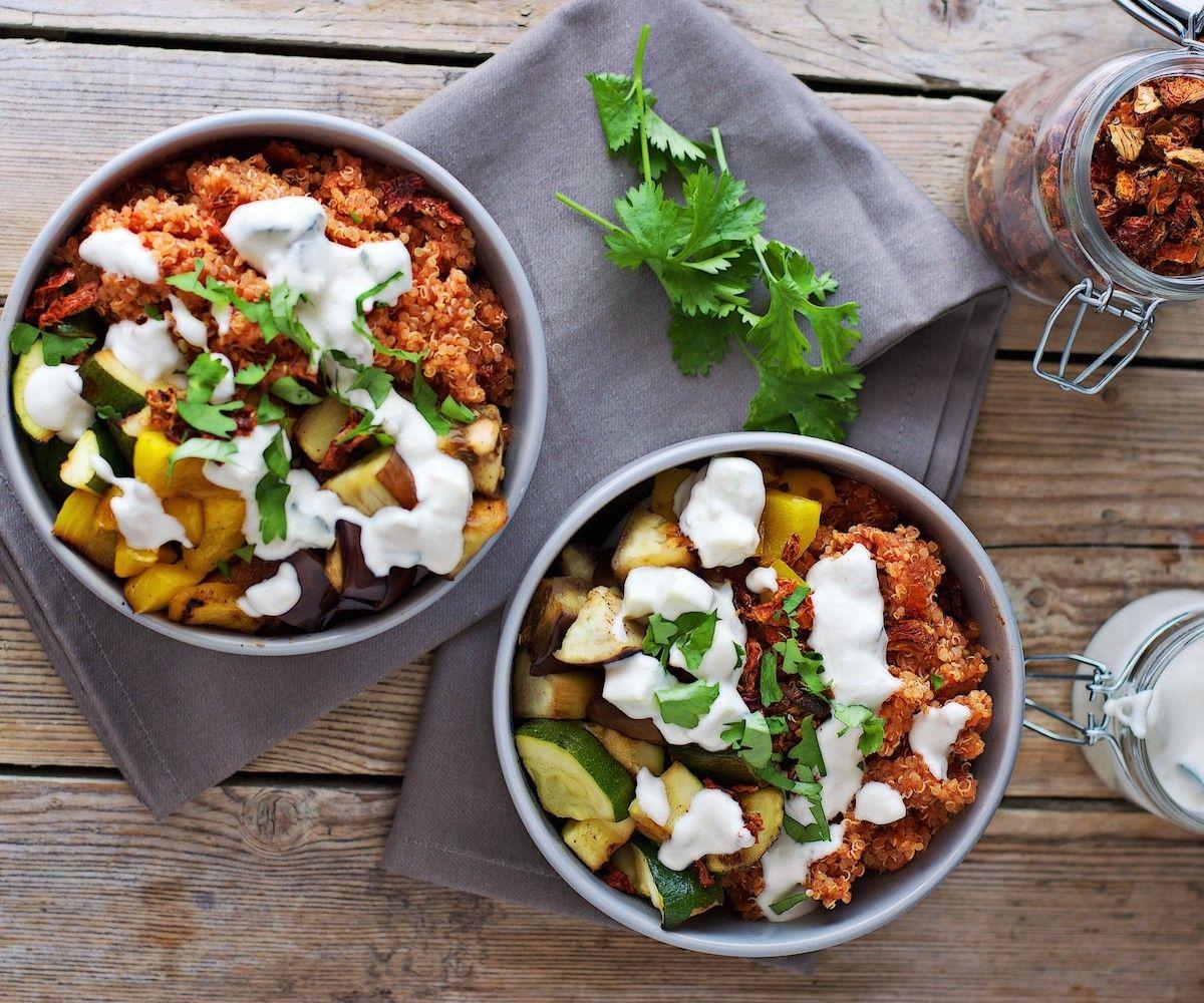 Mediterranean Quinoa with Cashew Tzatziki