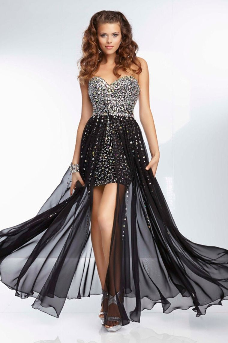Start out searching for your perfect long strapless black prom dress