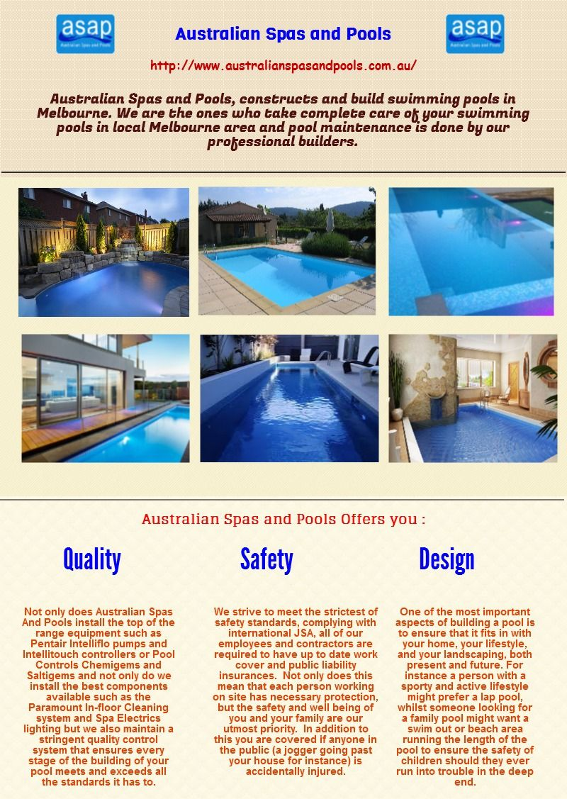 Australian Spas And Pools Is A Professional Pool Maintenance And