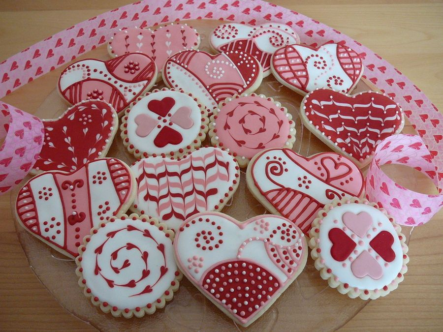 My Valentine Cookies. Buttercookies Covered With Royal Icing And Some Of  Them Have Fondant Details