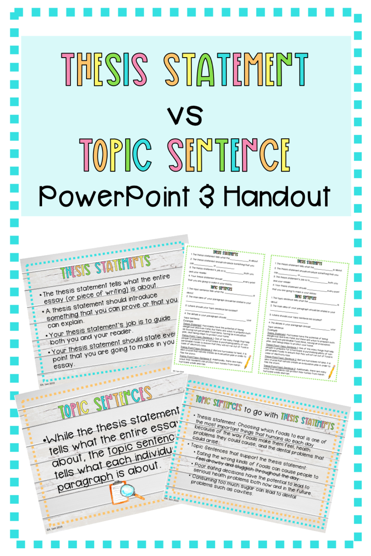 Thesis Statement Vs Topic Sentence Powerpoint With Handout