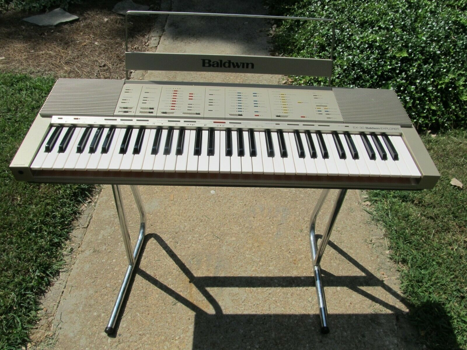 Vintage 80s Baldwin Ex 30 Explorer Piano Keyboard With Stand Sheet