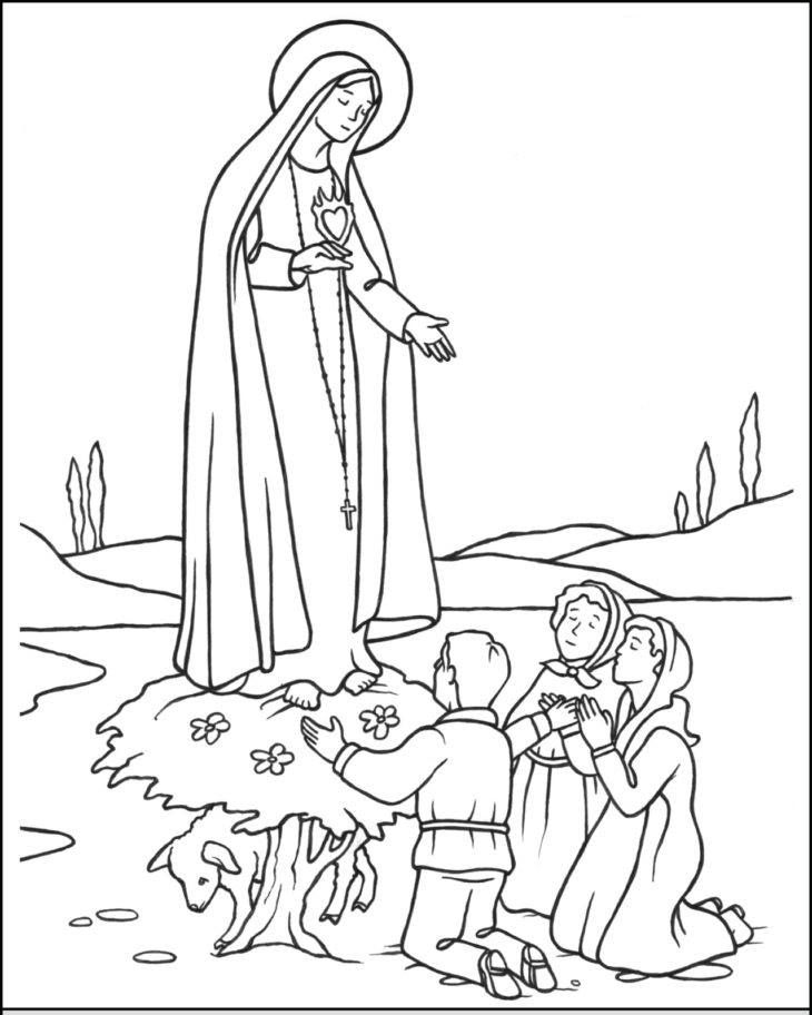 Pastorinhos Francisco Jacinta E Lucia Com A Virgem De Fatima