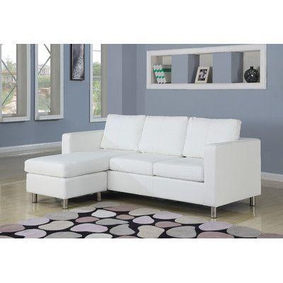 Wildon Home  Kemen Reversible Chaise Sectional Upholstery: White