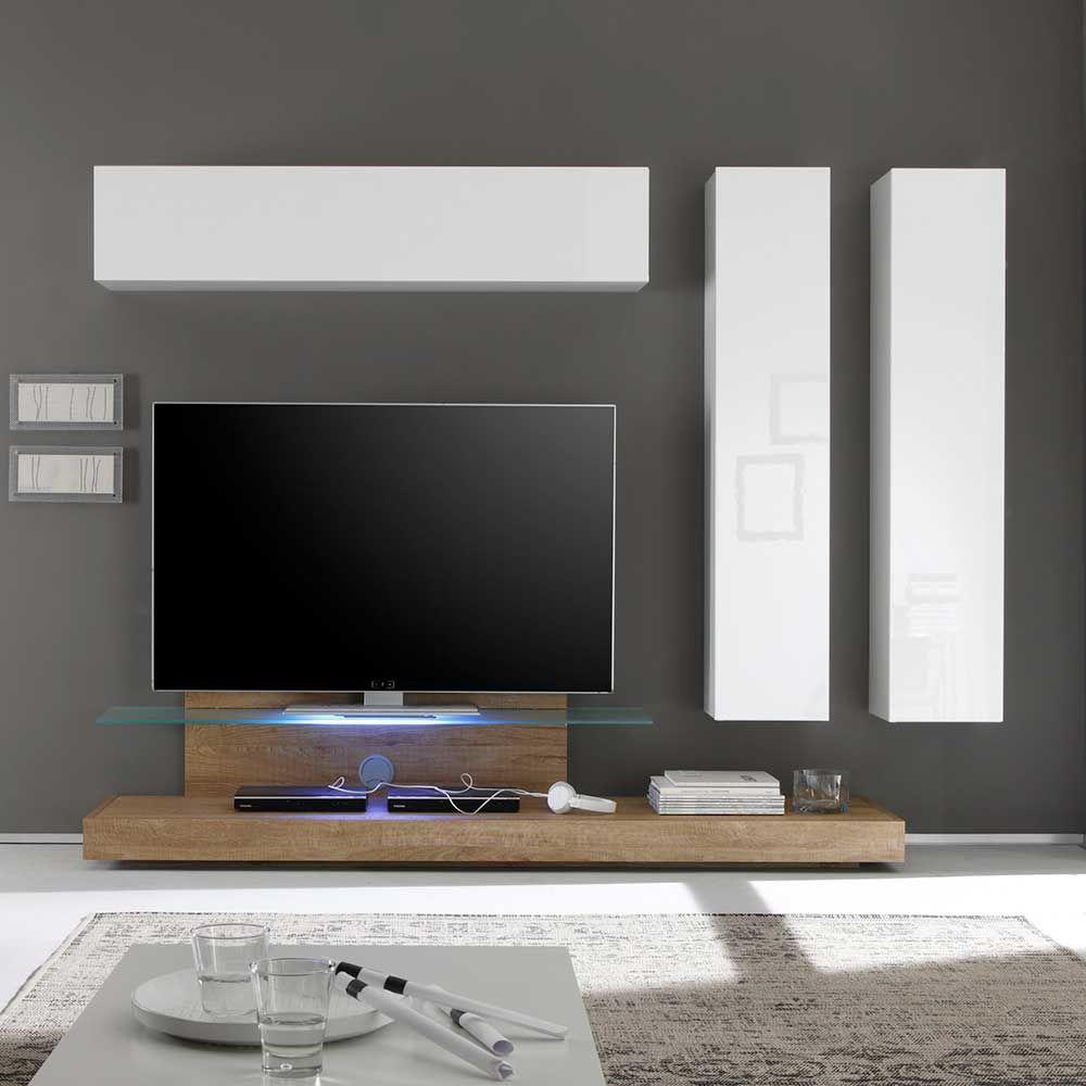 Wohnzimmer Schrankwand mit TV Podest Weiß Hochglanz Eiche (4-teilig ...