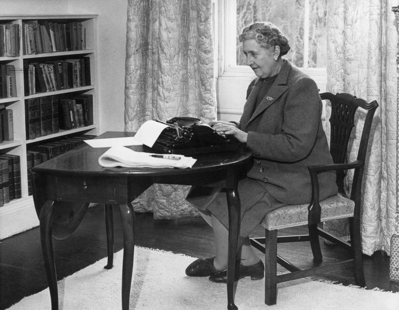Agatha Christie at the typewriter