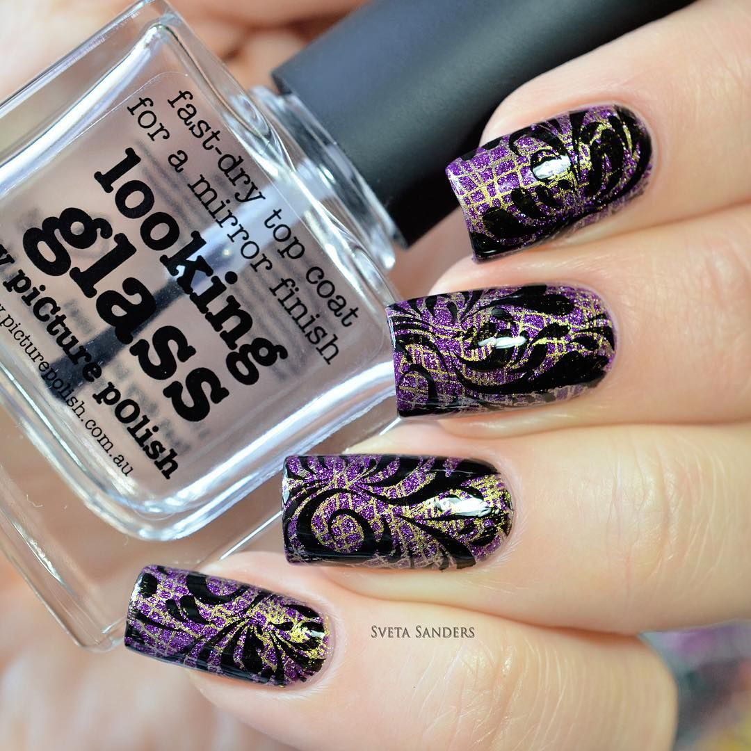 #PicturePolish Pandora + #Stamping #DRK + Looking Glass top coat by @picturepolish