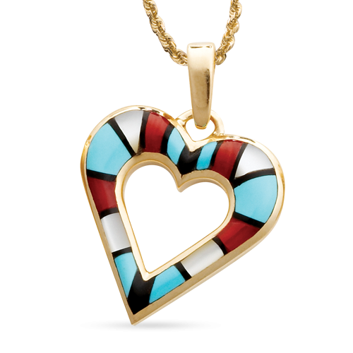 Multi Color Open Heart Pendant