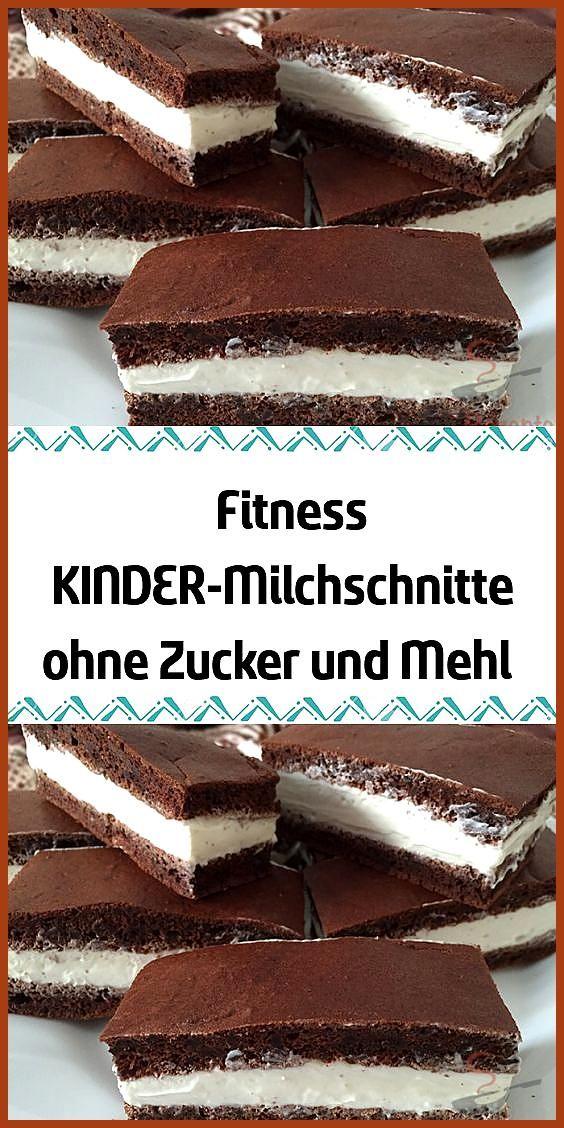 Fitness KINDER-Milchschnitte ohne Zucker und Mehl #Fitness #Fitness food quotes #Fitness food veggie...