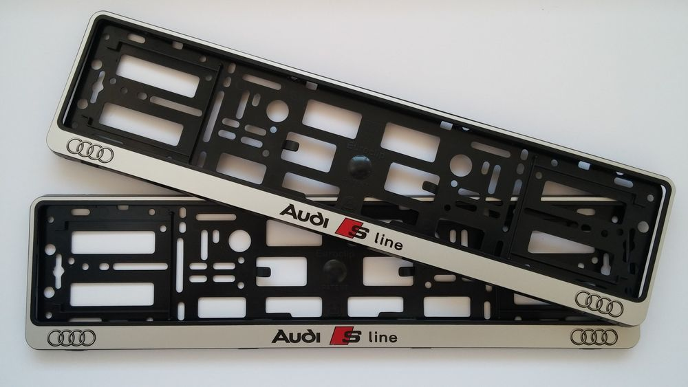 2x SILVER AUDI S LINE NUMBER PLATE SURROUNDS HOLDER FRAME FOR ANY ...