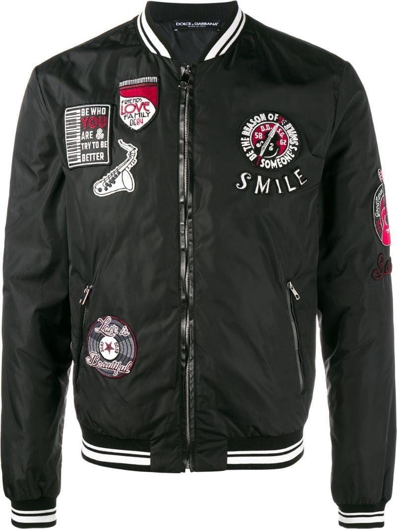Dolce & Gabbana Patch Embellished Bomber Jacket Farfetch