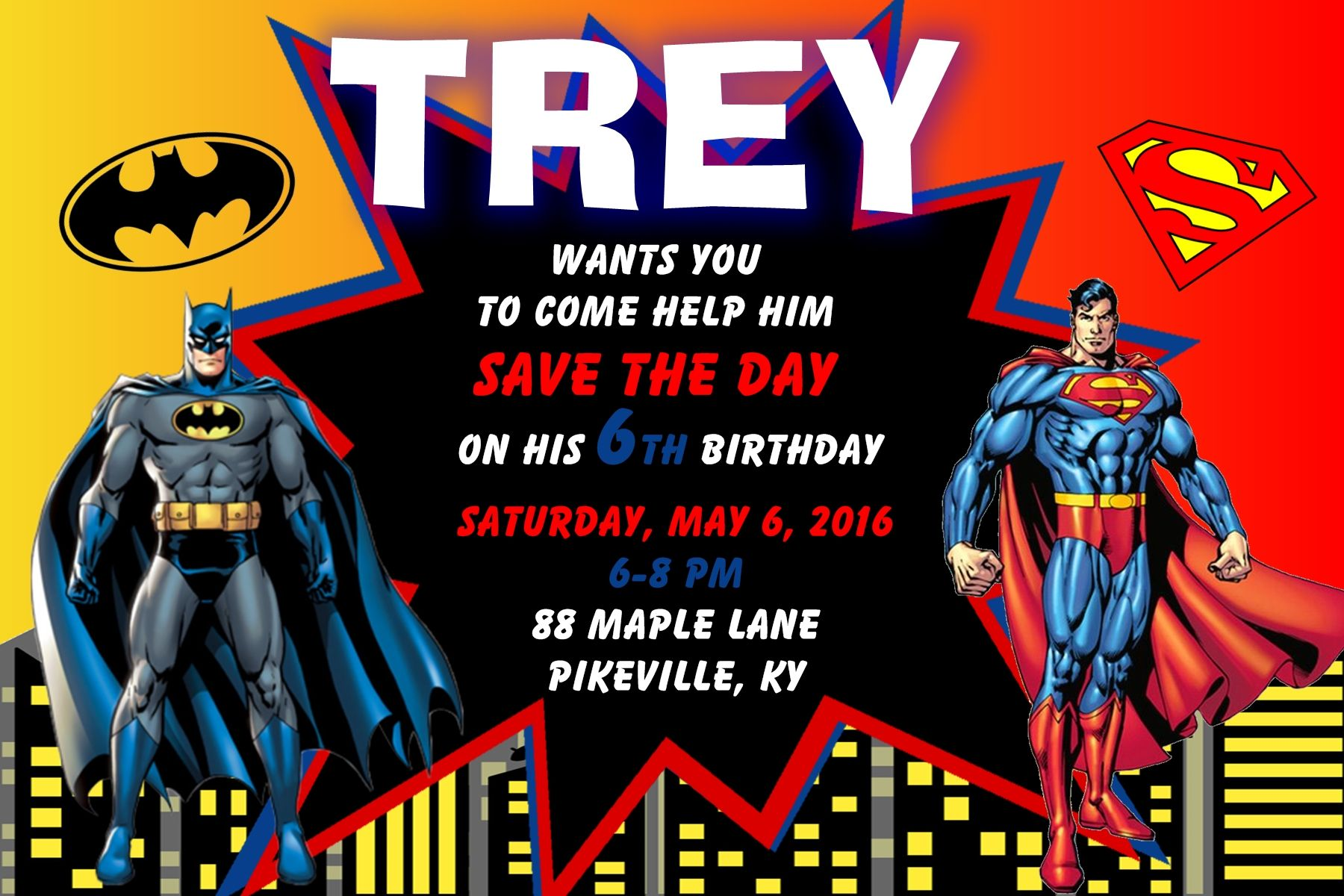 4x6 batman and superman birthday invitation contact me via email at 4x6 batman and superman birthday invitation contact me via email at aswiney01yahoo stopboris Gallery