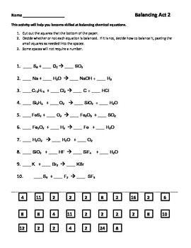 Balancing Chemical Equations Worksheet Part 2 | Equation
