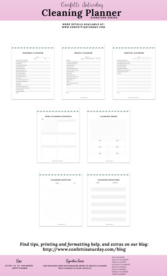 Cleaning Printable Planner Page Checklist for Spring