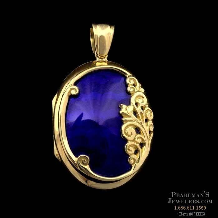 Charles Green Charles Green 18kt yellow gold Blue Enamel Locket