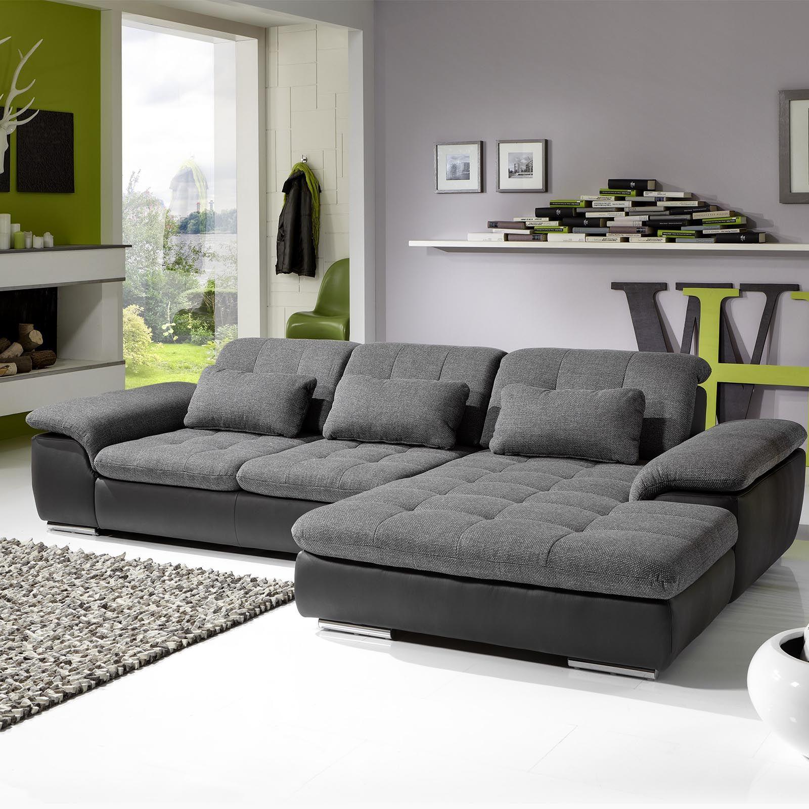 wohnlandschaft individuell isola anthrazit silver modern. Black Bedroom Furniture Sets. Home Design Ideas