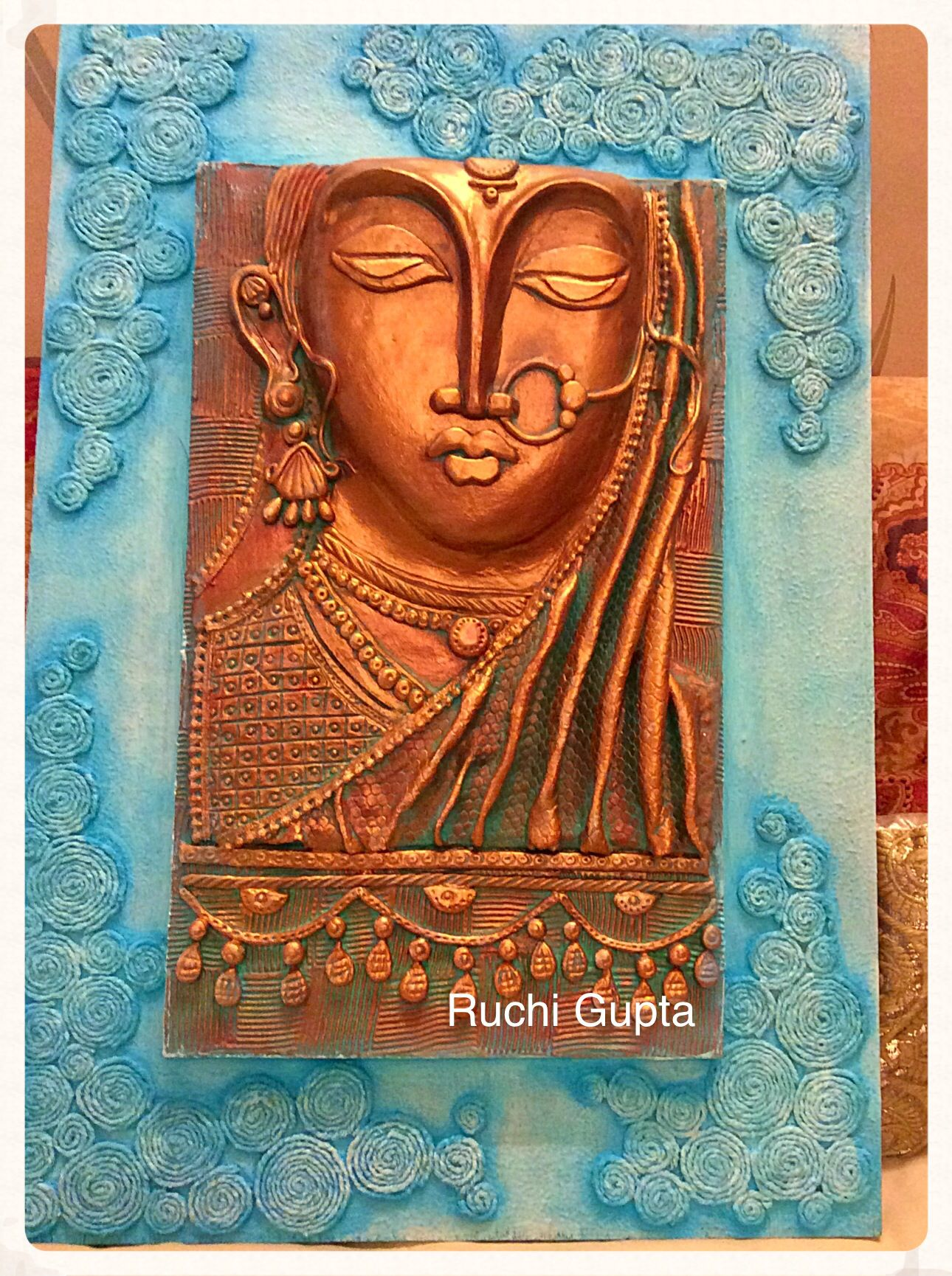 Air dry clay mural with thread texture my works for 3d mural art in india