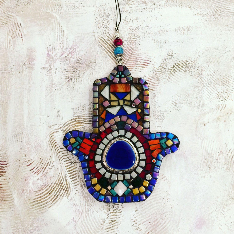 Hamsa Mosaic Wall Hanging Art Judaica Fatmi Hand Talisman Miriam HandJudaica By MoushkaCrafts