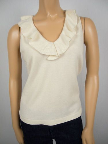 ANN TAYLOR 100% Cashmere Knit Sweater S Sleeveless Ruffled Neckline And Collar