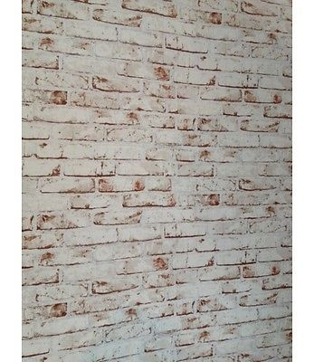 Realistic White Painted Distressed Red Brick Wall Effect Feature Wall Wallpaper Brick Effect Wallpaper Red And White Wallpaper Brick Wallpaper