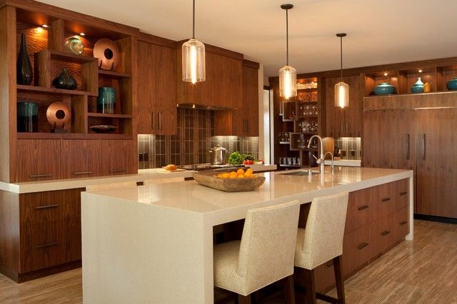Genial Holz Schränke Und Long Island In Der Modernen Küche