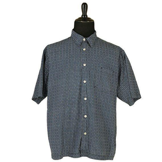 f517b15c0 Vintage mens short sleeve shirt - Navy blue white detail - Short sleeve  medium spread collar - button up closure front pocket, pen pocket