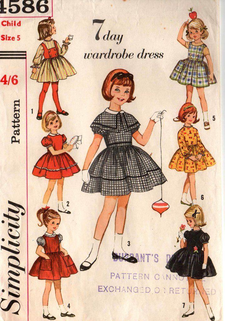 Simplicity 4586 Girls 7 Day Wardrobe Dress Weskit Jumper & Cape 60s ...