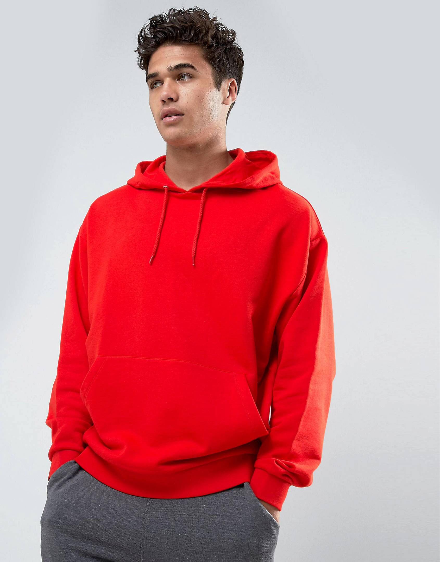 Oversized Hoodie In Red | Hoodies, Hooded sweatshirts, Mens