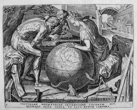 """AUTORE :       Cornelis  CORT  ( Hoorn 1533   -  Roma 1578)  SOGGETTO :    """" Le sette arti liberali"""" : La Geometria,  tratte dai disegni di Frans FLORIS ( 1516 - 1570 ) TECNICA :      Bulino -  filigrana """" BUFFONE """" ( primi '600 ) EPOCA :         1610"""