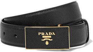 Shop Now - >  https://api.shopstyle.com/action/apiVisitRetailer?id=626857831&pid=uid6996-25233114-59 Prada - Textured-leather Waist Belt - Black  ...