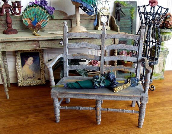 Miniature Furniture Sofa Provence Wooden Miniature Powder Grey