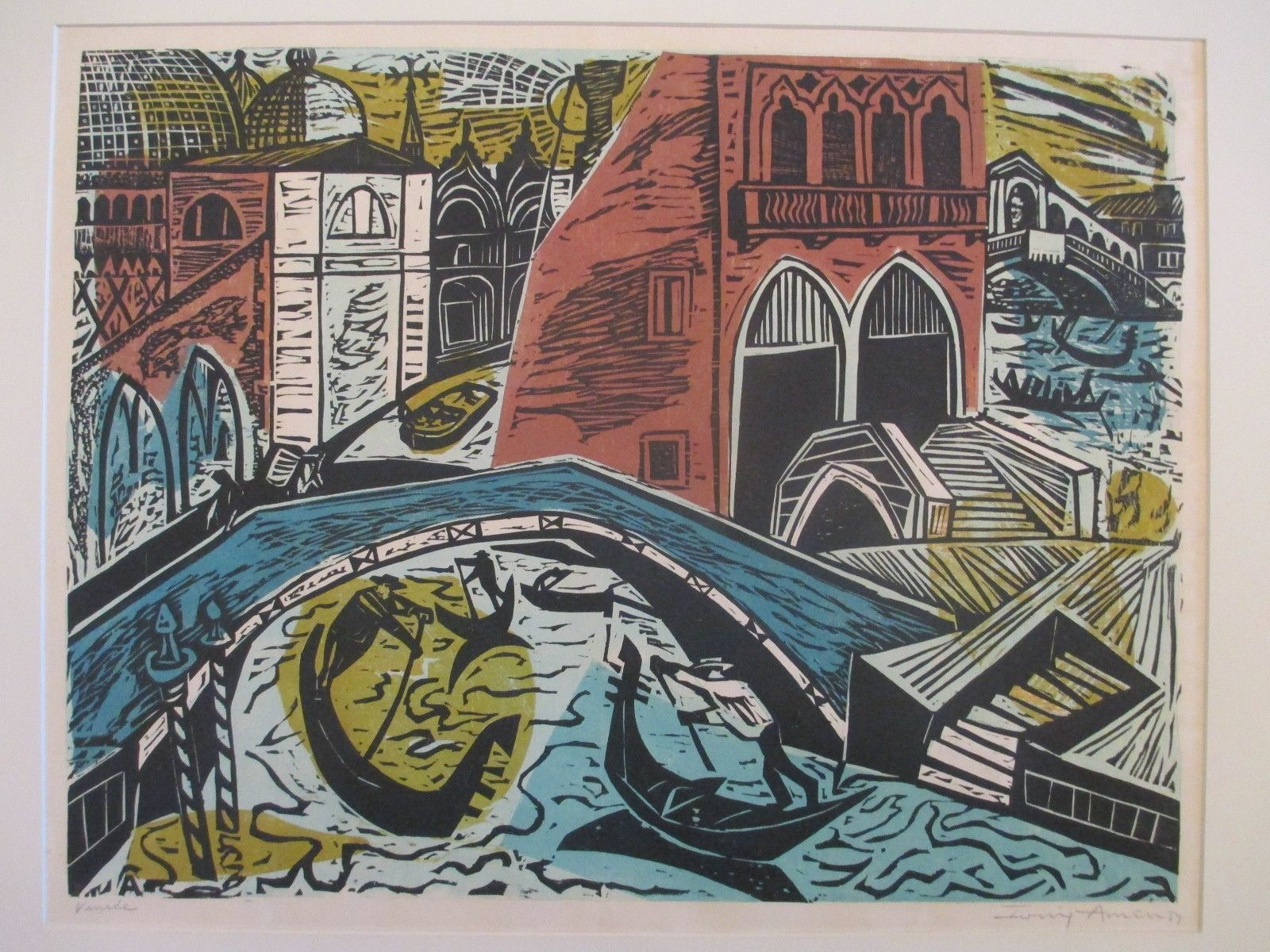 Irving Amen B 1918 New York Vintage Abstract Modern Venice Cityscape Woodcut | eBay