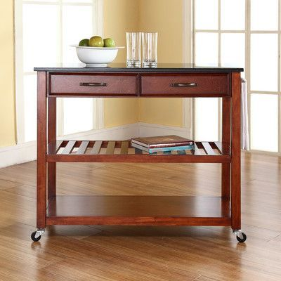 Brayden Studio Saterfiel Kitchen Island with Granite Top Frame