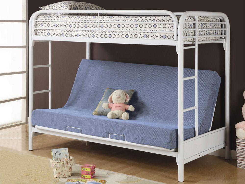 metal bunk bed futon. Fordham White Futon Metal Bunk Bed B