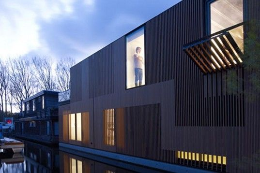 FRAMEWORK Architects, Studio PROTOTYPE, Water Villa, wooden facade, floating home, Amsterdam, Dutch architecture, Architecture, Floating Houses, Daylighting, Air quality,