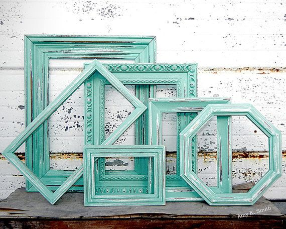 SALE - SET OF 5 Mixed Picture Frames - You Pick The Color - Aqua Mint White Grey Gray Black Cream - Large Rustic Empty Collection via Etsy